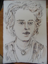 Ink and water color image of Simone Roberts
